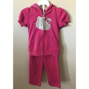 Hello Kitty Embroidered Zip Up Hoodie Capri Pants